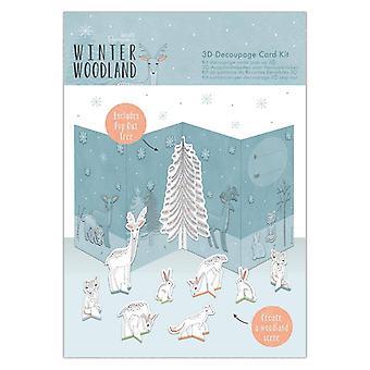 Papermania Winter Woodland 3D Decoupage -korttisarja