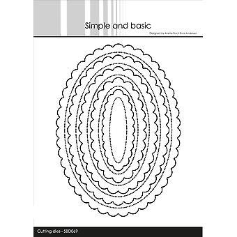 Enkel och grundläggande Scalloped Ovals Dies