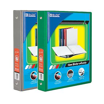 Combo77, BAZIC 1.5 Inch 3-Ring View Binder with 2-Pockets (Case pack of 24 consist 12-Grey & 12-Green)