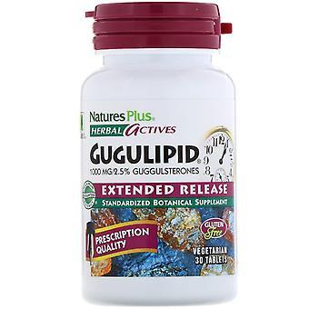 Nature's Plus, Urte Actives, Gugulipid, Utvidet Utgivelse, 1000 mg, 30 Vegetar