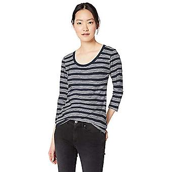 Brand - Daily Ritual Women's Lived-in Cotton Slub 3/4-Sleeve Scoop Neck T-Shirt, Navy Stripe, X-Large