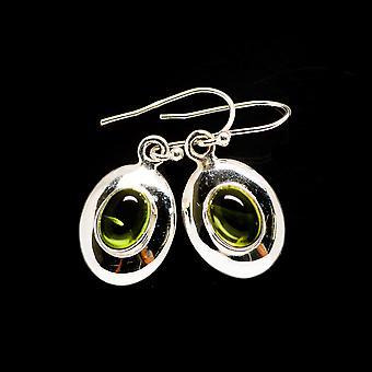 """Peridot Earrings 1 1/4"""" (925 Sterling Silver)  - Handmade Boho Vintage Jewelry EARR405634"""