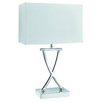 Searchlight Club - 1 Light Table Lamp Chrome with White Shade, E14