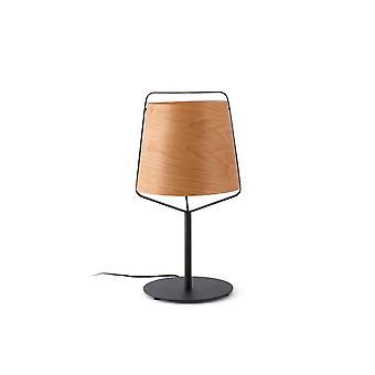 Stood Black And Wood Table Lamp