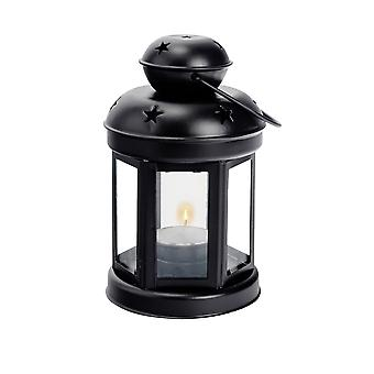 Nicola Spring Candle Lanterns Tealight Holders Vintage Metal Hanging Indoor Outdoor - 16cm - Black