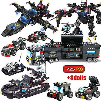 City Police Station Building Blocks Toys City Swat Team Truck Block Educational Toy For Kids Children Christmas Gift