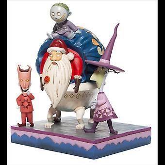 Blocca shock e barile con la statuetta di Santa Disney Traditions
