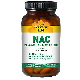 Country Life NAC (N-Acetyl Cysteine), 750 MG, 60 Caps