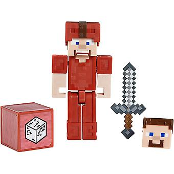 Minecraft - 3.25inch Comic Figure Steve In Red Leather Armor Kids Toy