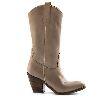 Zoe Florida Beige Texan Leather Boots With Embroidery