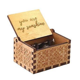 Hand Cranked, Laser Engraved, Vintage Style Wooden Music Box