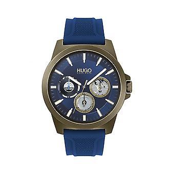 HUGO 1530130 Mens Twist Relógio de Silicone Cinza e Azul