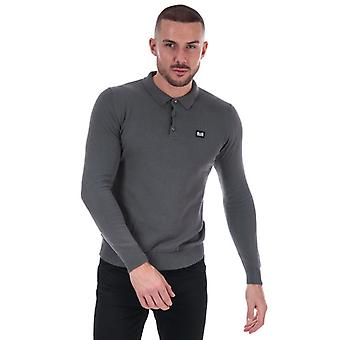 Men's Weekend Offender Dunway Long Sleeve Knit Polo Shirt in Grey