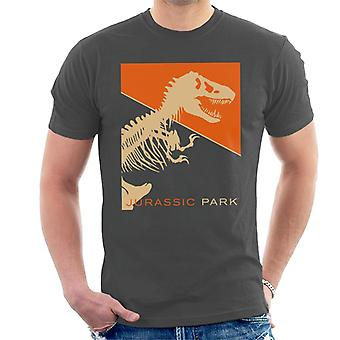 Jurassic Park T Rex Skeleton Orange Background Men's T-Shirt