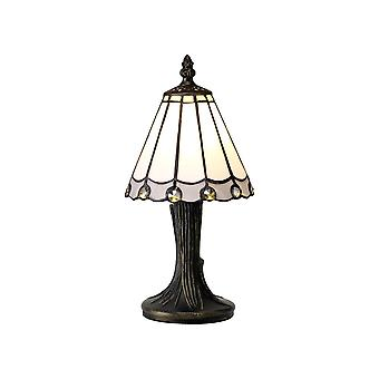 Morgan Tiffany Table Lamp, 1 X E14, White/grey/clear Crystal Shade