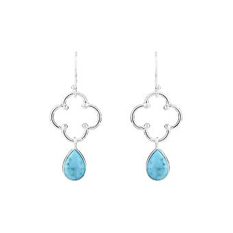 925 Sterling Silver Blue Open Clover Turquoise Gemstone Dangle Drop Orecchini