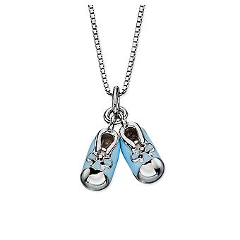 D for 925 Sterling Silver Diamond Blue Enamel Baby Booties Pendant Necklace of Length 35.5cm
