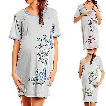 Materské šaty Ženy Kreslená tlač Krátky rukáv Nočná košeľa, Bavlna Tehotná
