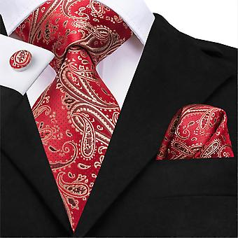Hi-tie Silk Luxury Floral Black Gold Paisley Neck Tie Pocket Square Cufflinks
