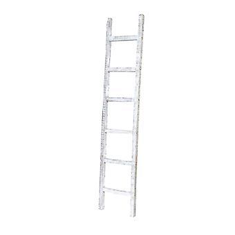 6 Step Rustic White Wash Wood Ladder Shelf