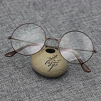 Men Women Fashion Metal Frame Clear Lens Oversized Round Eye Glasses.