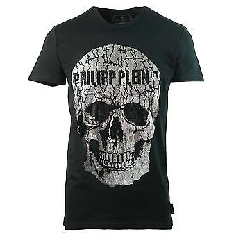 Philipp Plein Large Cracked Skull Logo Black T-Shirt