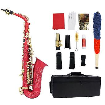 Alto Saxophone Sax Carve Pattern Saxophone Full Kit with Carrying Case Gloves Mouthpiece Straps Reeds Stand Cork Grease Cleaning Cloth