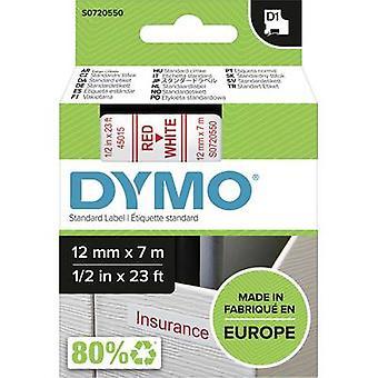 Merkintöjä nauha DYMO D1 45015 nauhan väri: valkoinen fontin väri: punainen 12 mm 7 m