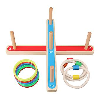 Wooden Ring Toss Game with 4 Wood Sticks for Kid Linen Yard Multicolor