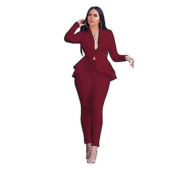 Full Sleeve Ruffles Blazers Pants Suit