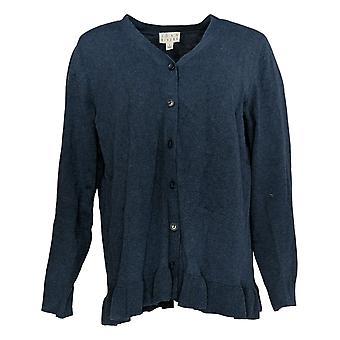 Joan Rivers Classics Collection Kvinder's Sweater Cardi Ruffle Blue A309634
