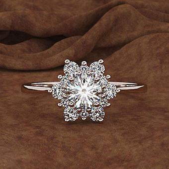 أنثى ندفة الثلج خاتم، كريستال زيركون ستون، خواتم الزفاف خمر