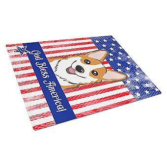 Caroline's Treasures Bb2184Lcb Dio benedica bandiera americana con tagliere in vetro Corgi rosso, grande, multicolore