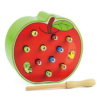 Montessori din lemn magnetic prinde worms 3d puzzle joc educativ