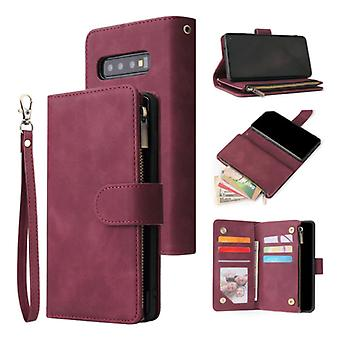 Stuff Certified® Samsung Galaxy S21 - Leather Wallet Flip Case Cover Case Wallet Wine Red