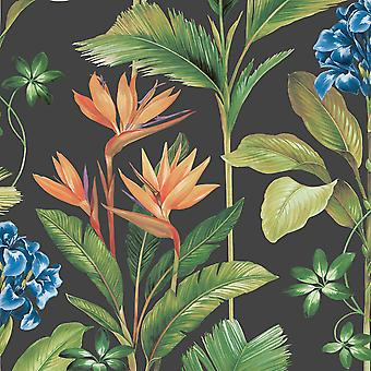 Oliana Floral Wallpaper Charcoal Belgravia 8484