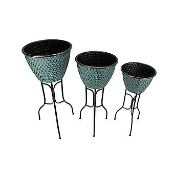 Set of 3 Bronze Finish Honeycomb Pattern Metal Round Tub Planters On Stands