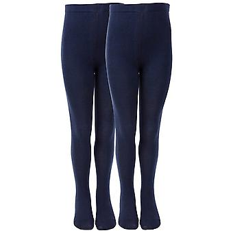 Melton 2 pack navy school tights - non-slouch