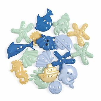 LAST FEW - 20g Novelty Under The Sea Buttons For Sewing and Haberdashery