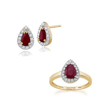 Gemondo 9ct Gelb Gold Ruby & Diamant Pear Cluster Ohrstecker & Ring Set