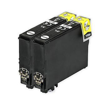 2 zwarte inktcartridges ter vervanging van Epson 502XLBk Compatible/non-OEM van Go Inks