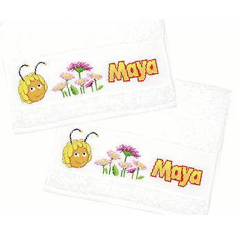 Vervaco Counted Cross Stitch: Towel: Maya & Flowers: Set of 2