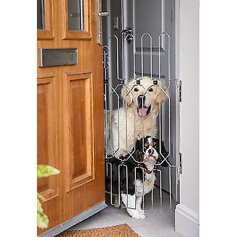 Dog Gate for Front Doors, A Retractable, Portable and Folding Concertina Dog Safety Barrier that can