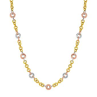 14k Tri Color Gold Link Necklace with Stations