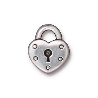 TierraCast Fine Silver Plated Pewter Heart Lock Keyhole Charm 16.3mm (1)