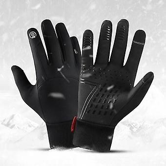 Winter mannen vrouwen fietshandschoenen waterdichte winddichte fleece voering touchscreen antislip full-finger fiets skihandschoenen