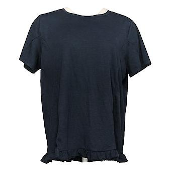 Anybody Women's Top Crinkle Knit T-Shirt with Ruffle Hem Blue A353784