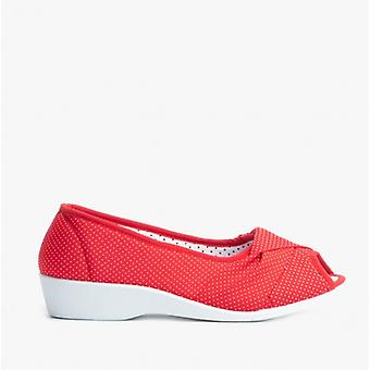 Dr Keller Intuition Ladies Fabric Wedge Sandals Red