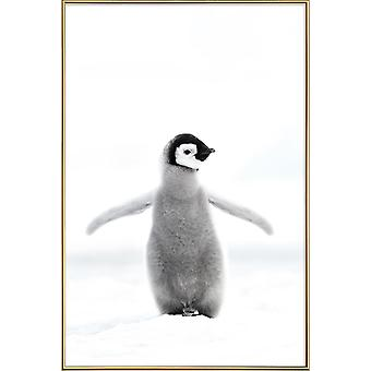 JUNIQE Print - Lone Penguin - Penguins Poster in Grey & White