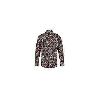 Jenson Samuel Blue Paisley Print Regular Fit Cotton Shirt